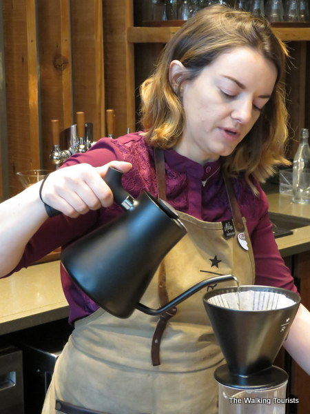Baristas share their knowledge of Starbucks' coffee options and recommend blends to sample.
