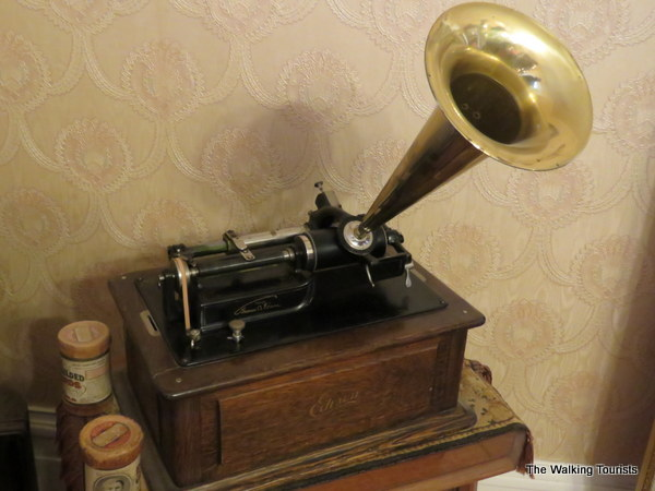 A phonograph invented by Thomas Edison.