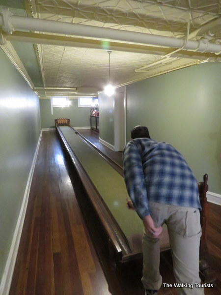 Checking out the single-lane bowling alley.