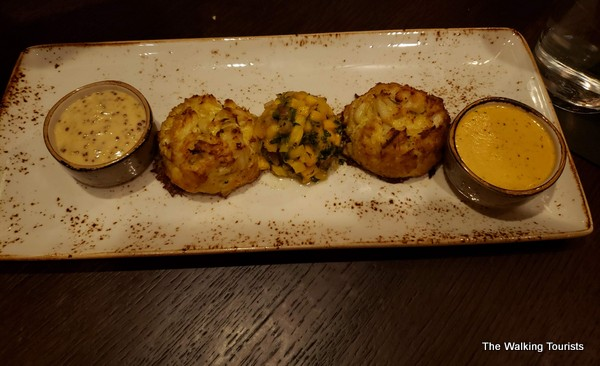 Jumbo sized crab cakes are delicious.