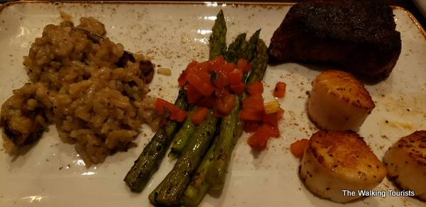 Lisa enjoyed a combination with a steak filet and scallops.