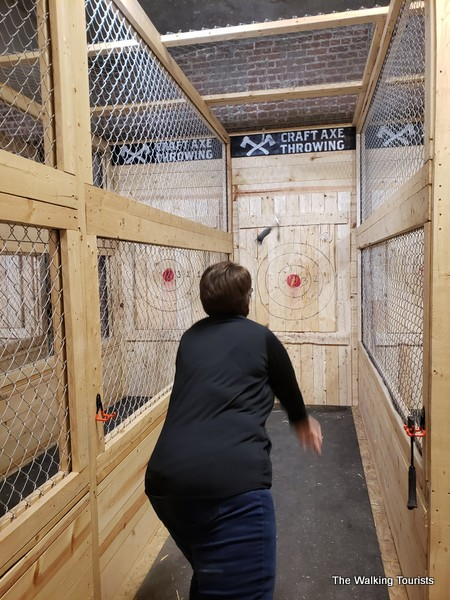 Lisa got her throwing motion down fairly quickly and hit the target a few times during our visit.