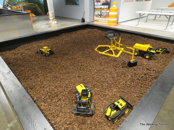 A real sandbox for children to play in while grown-ups play on the big equipment.