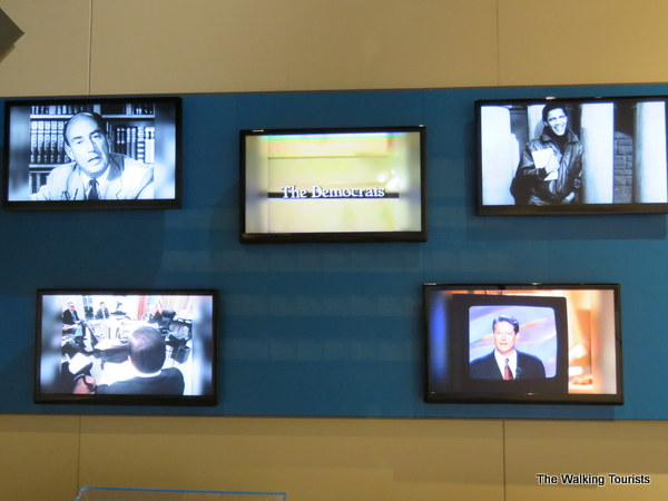 The exhibit continually airs political ads as a reminder of the constant bombardment we see during campaign season.