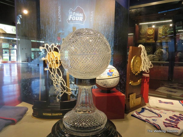 Championship trophies are located throughout the KU Hall of Athletics.