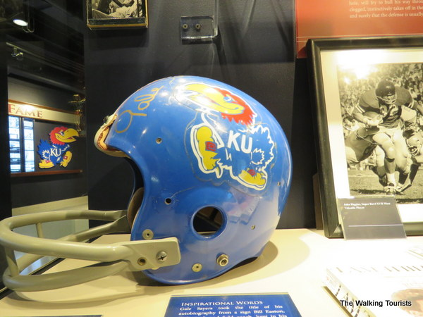 Kansas football helmet on display.