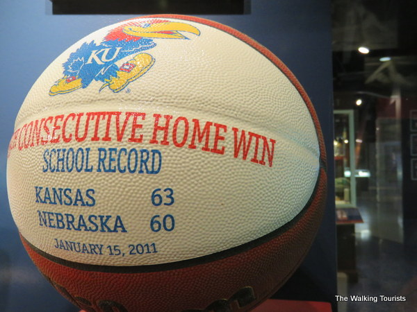 A special basketball recognizes the win over then-Big 12 rival Nebraska that cemented the longest home court winning streak for KU.