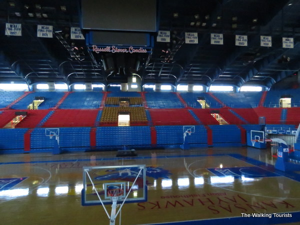 A view of the basketball court at Allen Fieldhouse.
