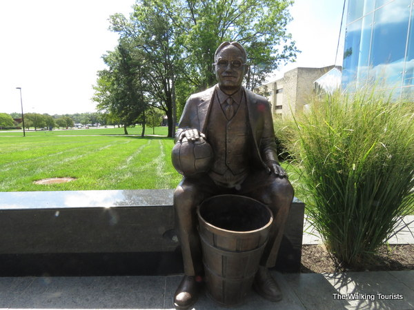 Statue of Dr. James Naismith, who invented basketball and coached at Kansas.