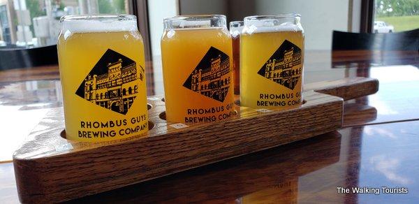 A flight of six beer samples