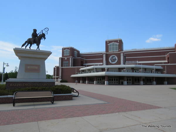 A statue honoring Lakota Chief Sitting Bull is located near the entrance to the Engelstad hockey arena.