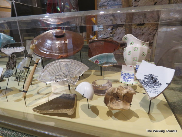 Pieces of china and other artifacts that were discovered during an excavation of the farm by archaeologists.
