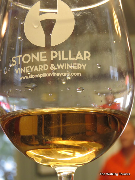 Glass of wine at Stone Pillar Vineyard and Winery