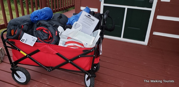 A red wagon full of supplies