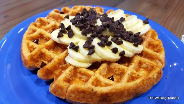 Waffle with Chocolate chips and bananas