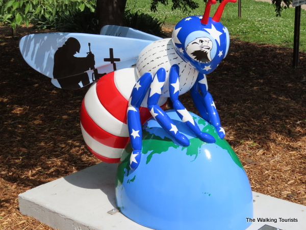 """Bee Free"" honors American veterans at Legion Park. The piece was designed by Suki Fischer."