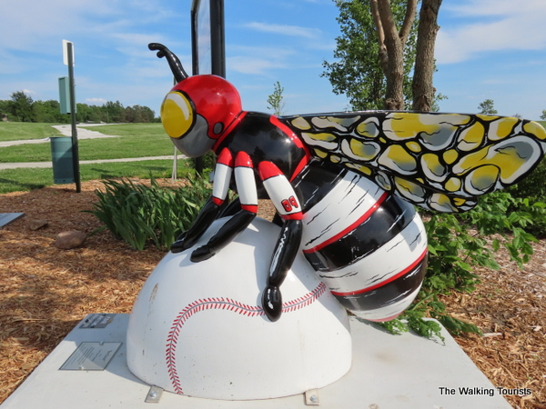 """Bee Great!"" by artist Tony ""Once"" Boettjer. The bee is at home at Johnson's Sportsman's Park."