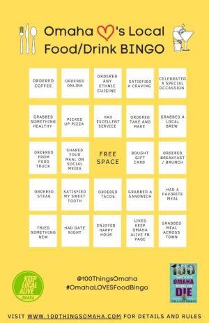 Omaha Loves Food Bingo Card A