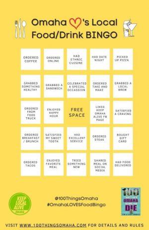 Omaha Loves Local Food/Drink Bingo Card D