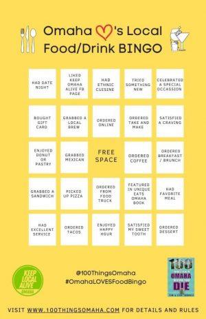 Omaha Loves Local Food/Drink Bingo Card B