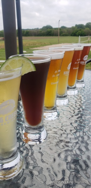 Beer flight at Keg Creek